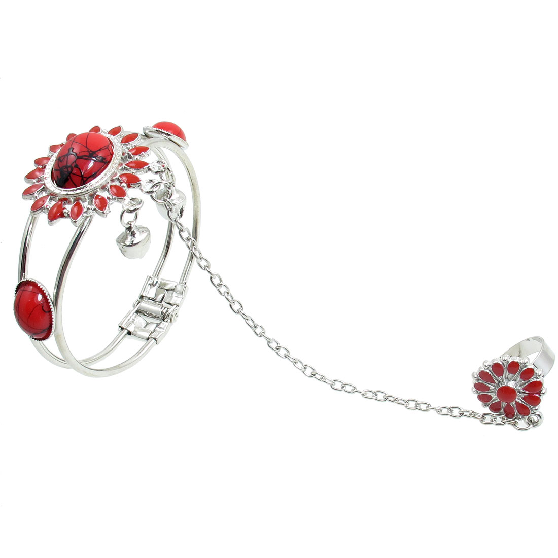 Oval Red Plastic Beads Metal Chain Finger Ring Bracelet for Ladies