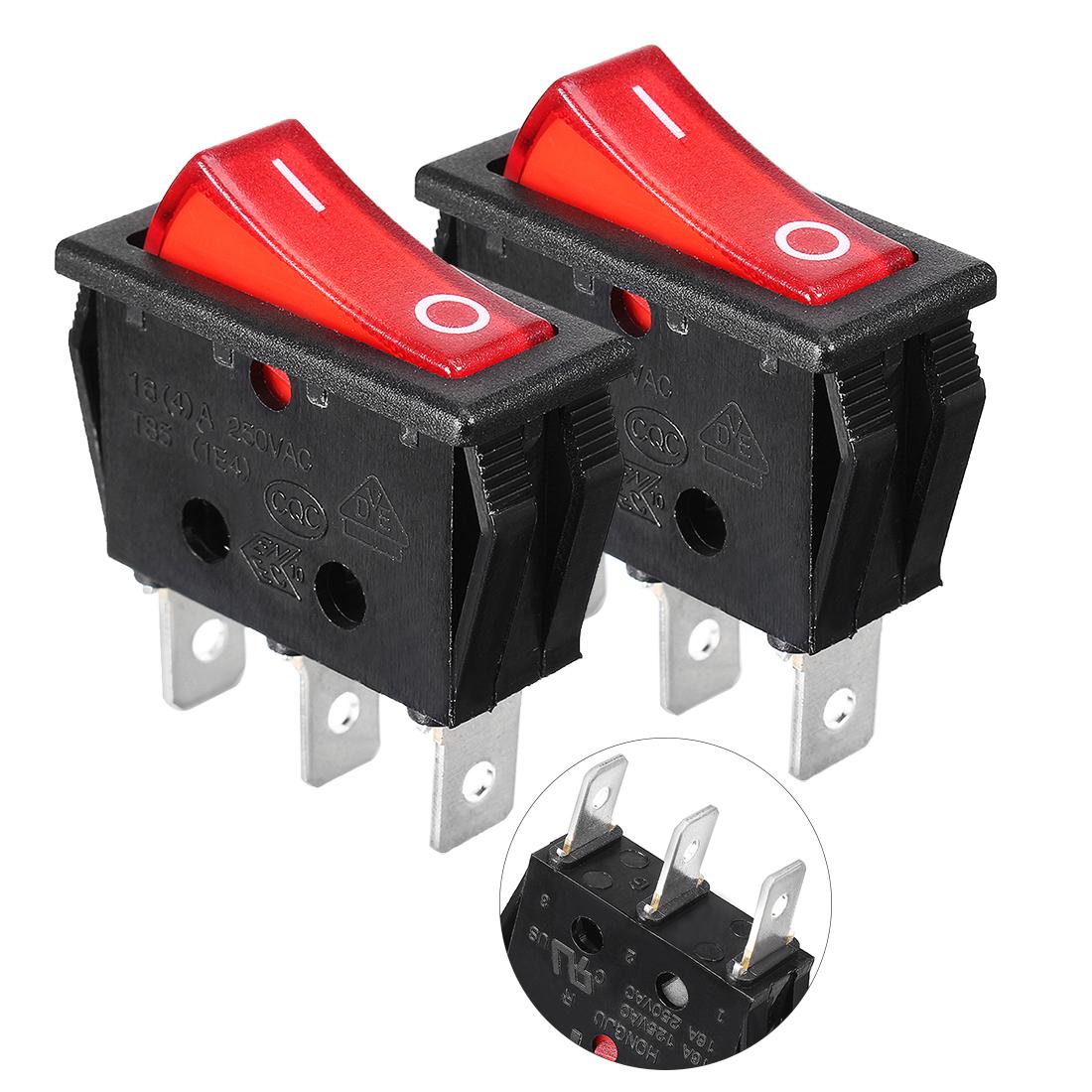 2 Pcs 3P SPST On/Off Neon Light Rocker Switch AC 250V/16