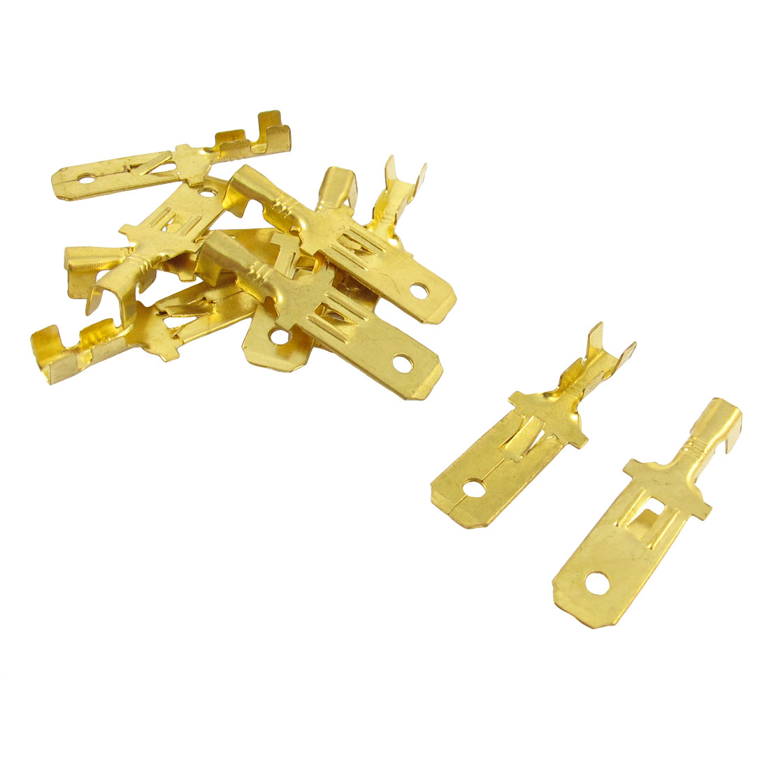 10 Pcs Gold Tone Male Spade Crimp Terminals 7.8mm Wiring Connectors