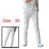 Mens Casual Zip Fly NEW Stylish Slim Fit Straight Pants Rsxec White W30
