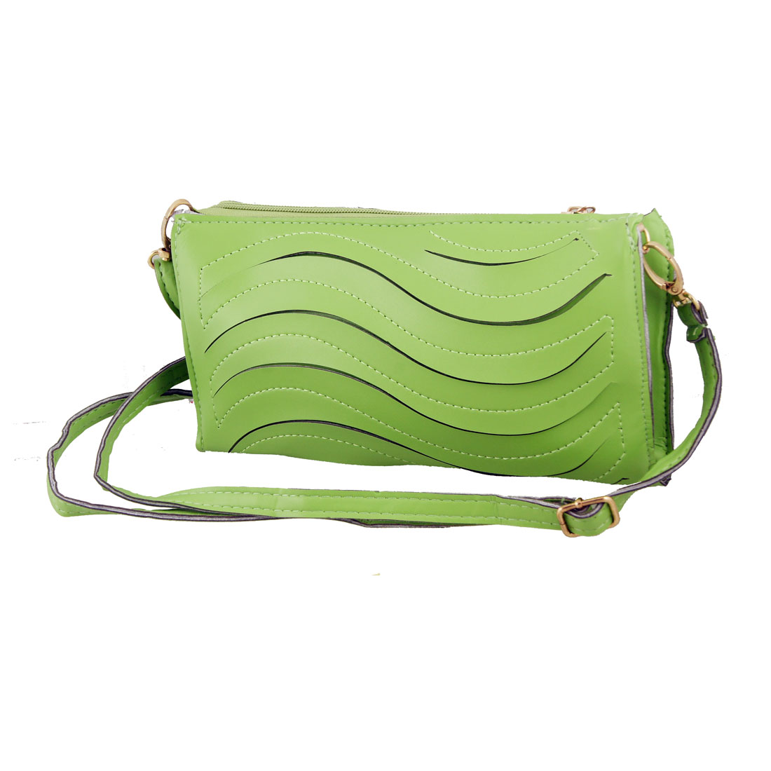 Wave Style Green Faux Leather Zip up Wallet Purse for Ladies