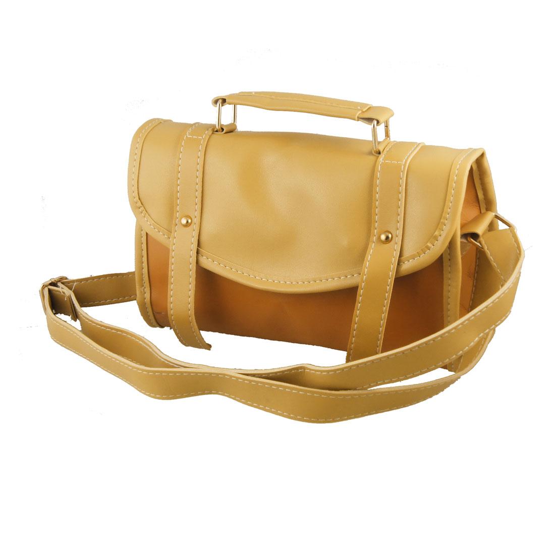 Women Khaki Brown Faux Leather Magnetic Flap Closure Shoulder Handbag