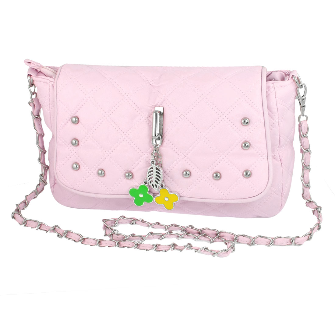 Ladies Nylon Lining Magnetic Flap Closure Light Pink Shoulder Handbag