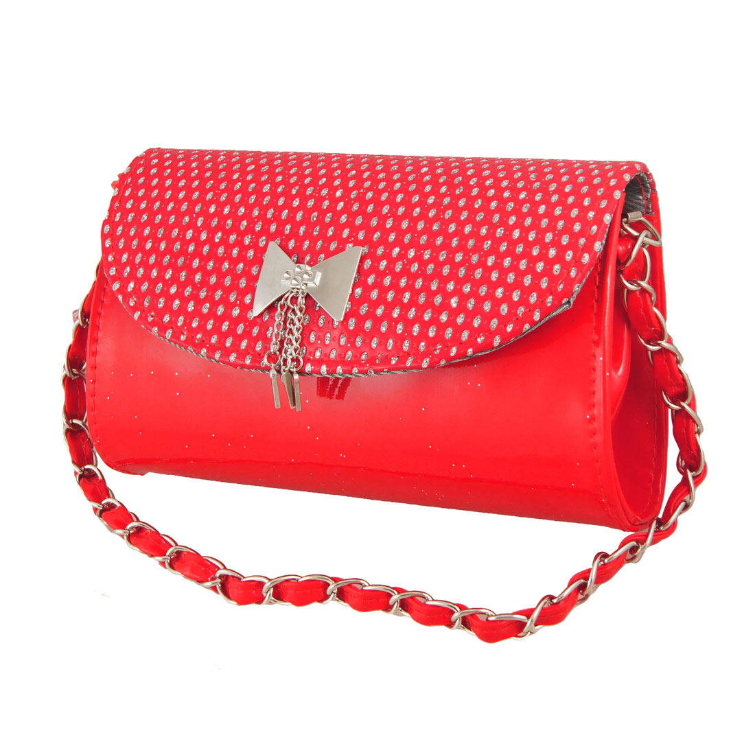 Ladies Magnetic Flap Closure Red Faux Leather Purse Handbag