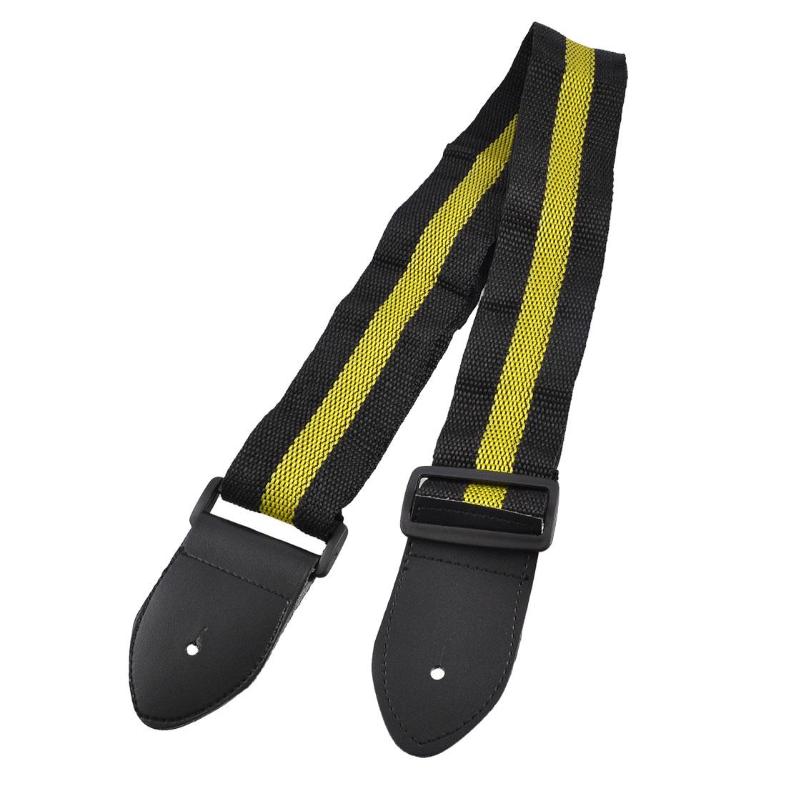 "1.9"" Width Black Yellow Nylon Weave Guitar Strap Shoulder Band"