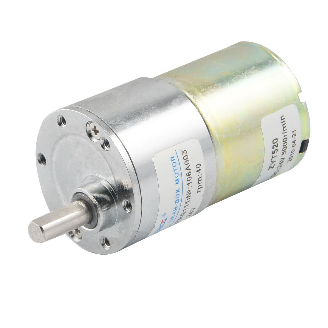 40RPM Output Speed 36mm Diameter 24V 0.33A DC Geared Motor