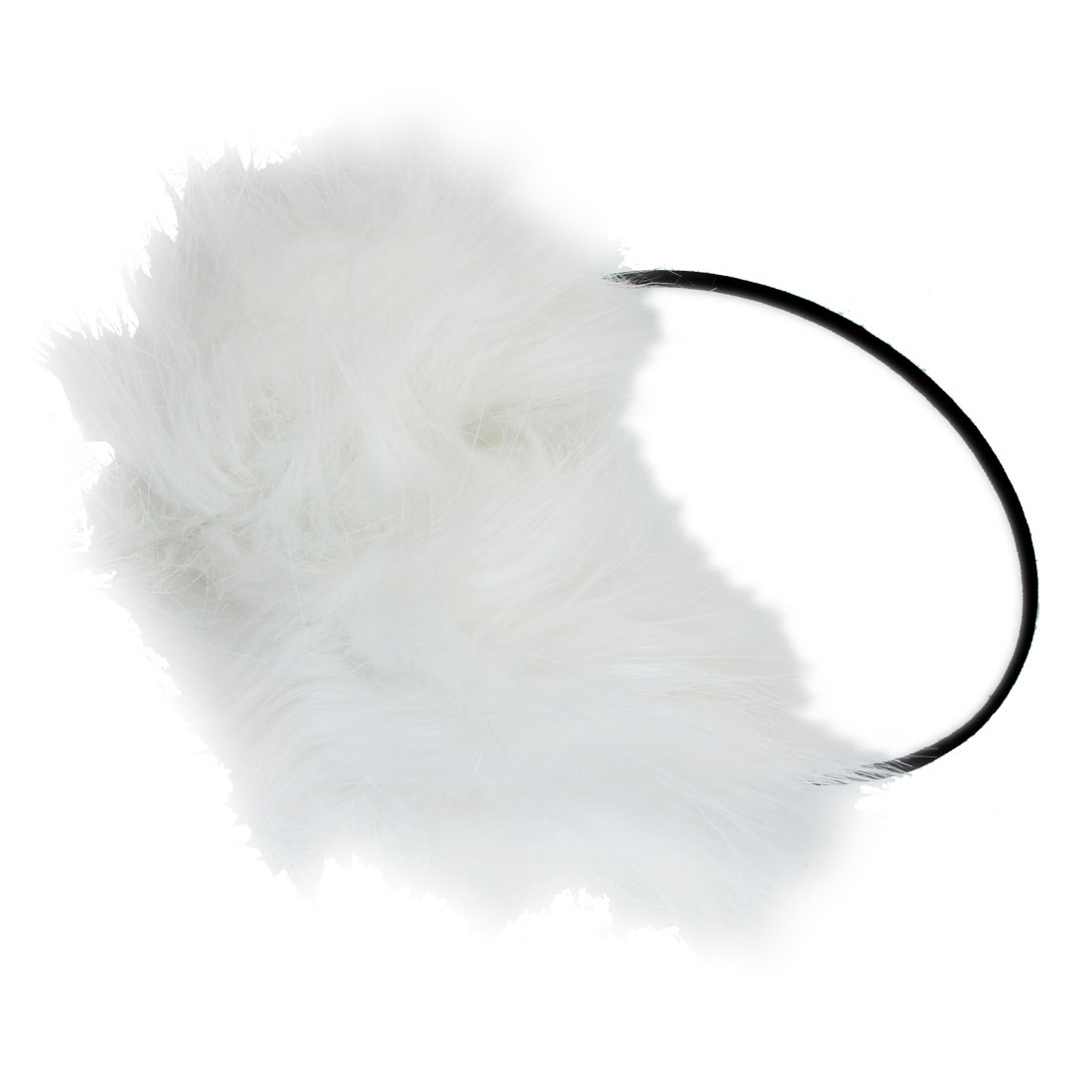 Soft Long White Faux Fur Pad Black Plastic Frame Ear Muffs