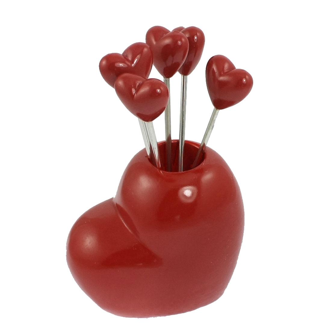 Home Red Heart Shaped Holder Fruit Fork Set 5-Forks Set