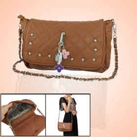 Women Studs Decor Brown Faux Leather Zippered Handbag Shoulder Bag