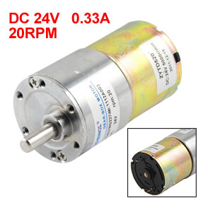 20RPM Output Speed 36mm Diameter 24V 0.33A DC Geared Motor