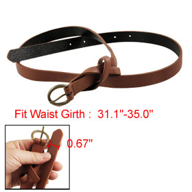 Single Pin Buckle Faux Leather Brown Magenta Slim Belt for Women