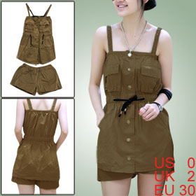 Women Light Brown Square Neckline Sleeveless Single Breasted Top w Elastic Waist Short Shorts XS
