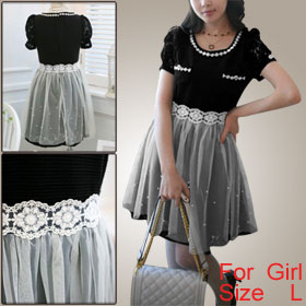 Girl Black White Scoop Neck Short Sleeve Hidden Side Zipper Veil Splice Dress L