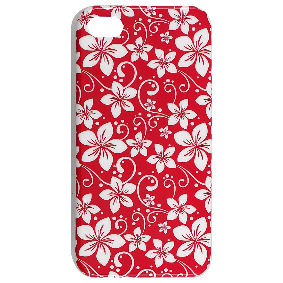 IMD White Flower Pattern Hard Plastic Back Case for iPhone 4 4G 4S