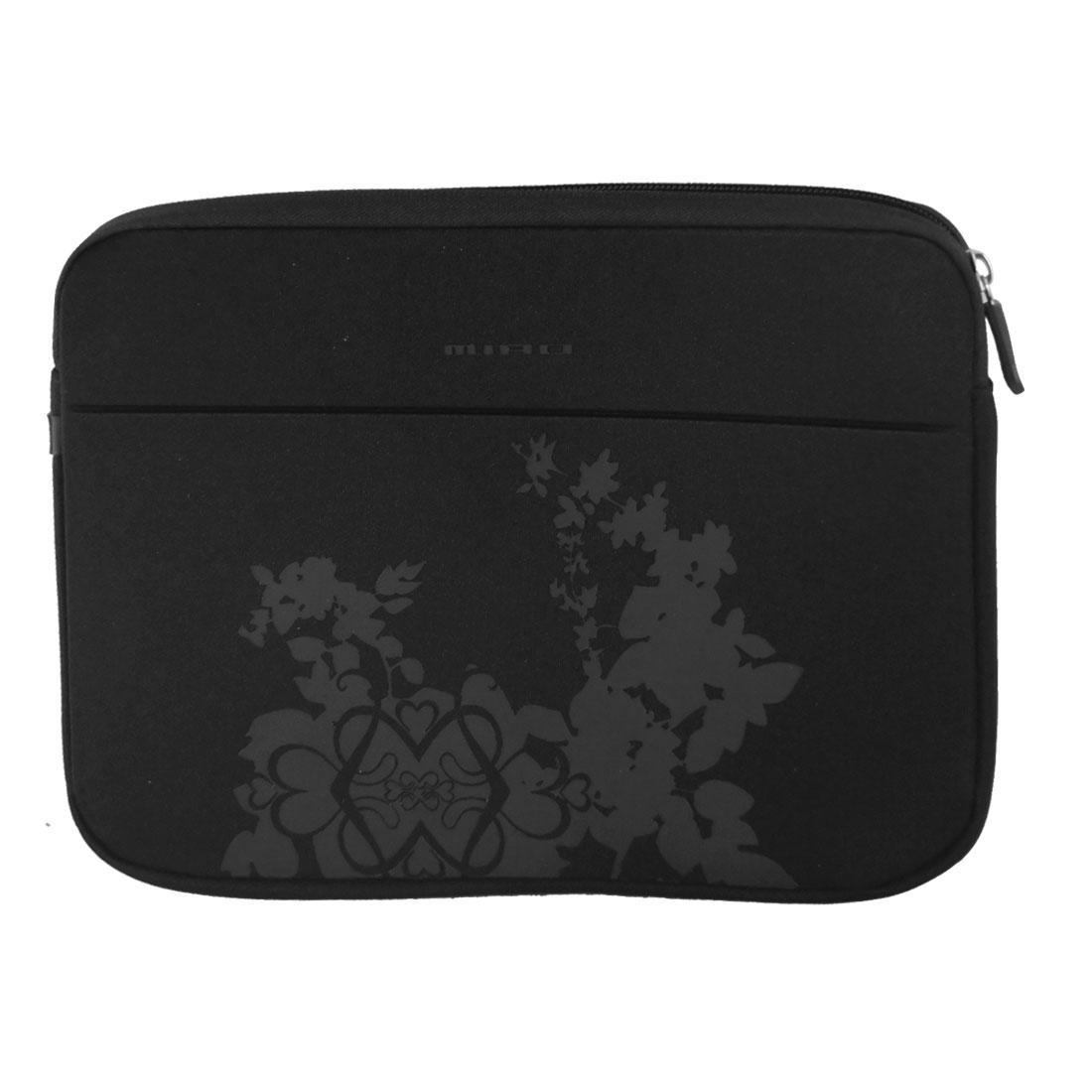 """10"""" 10.1"""" 10.2"""" Black Flower Soft Neoprene Laptop Sleeve Bag Case"""