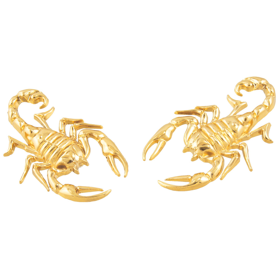 Scorpion Shaped Gold Tone Stickers Auto Car Graphic Decals 2 Pcs