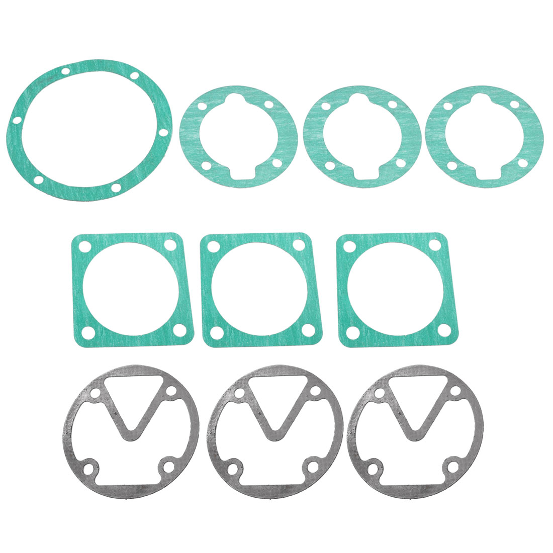 Green Gray Paper Cylinder Head Base Plate Sealing Gaskets Washers 10 Pcs