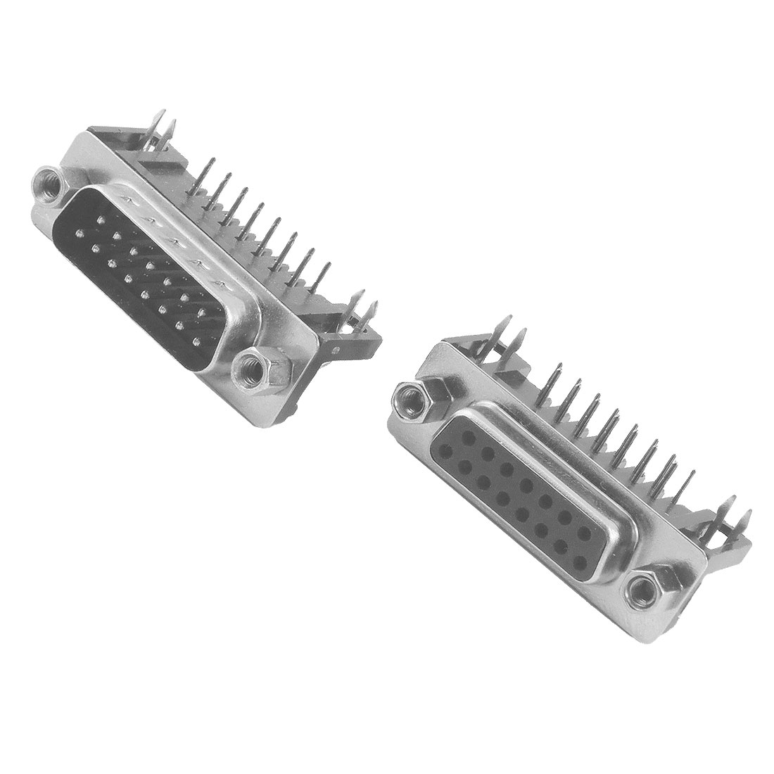 DB15 15 Pin Male + Female Right Angle D-sub PCB Mount Connectors 2 Pcs