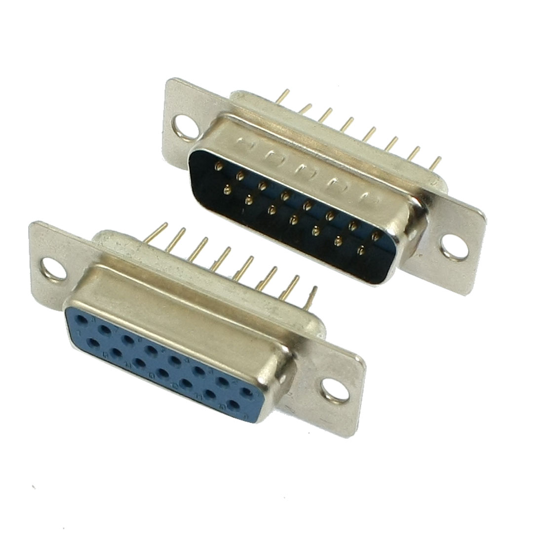 DB15 Male to Female DIP Straigh PCB Mount Connector 2 Pcs