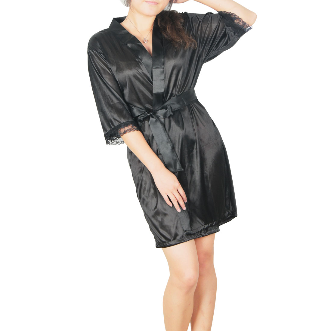 Black Front Opening Short Sleeve Semi Sheer Night Gown w Waist Strap for Ladies S