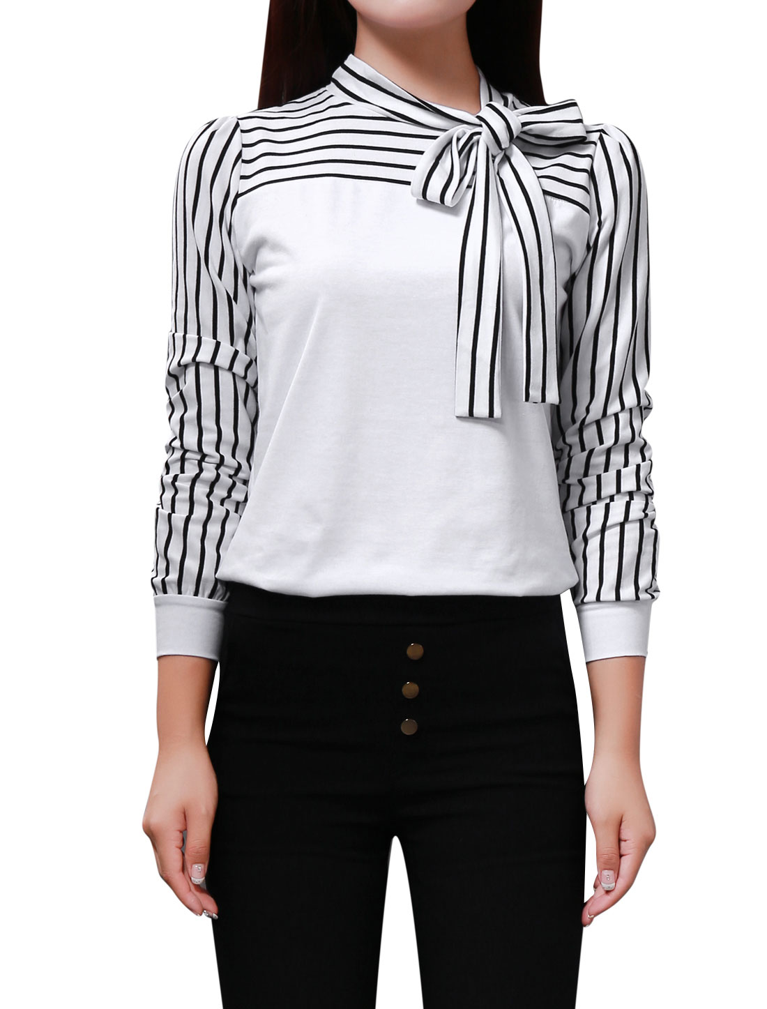 Women White Striped Sleeve Knot Neck Autumn Shirt Top M