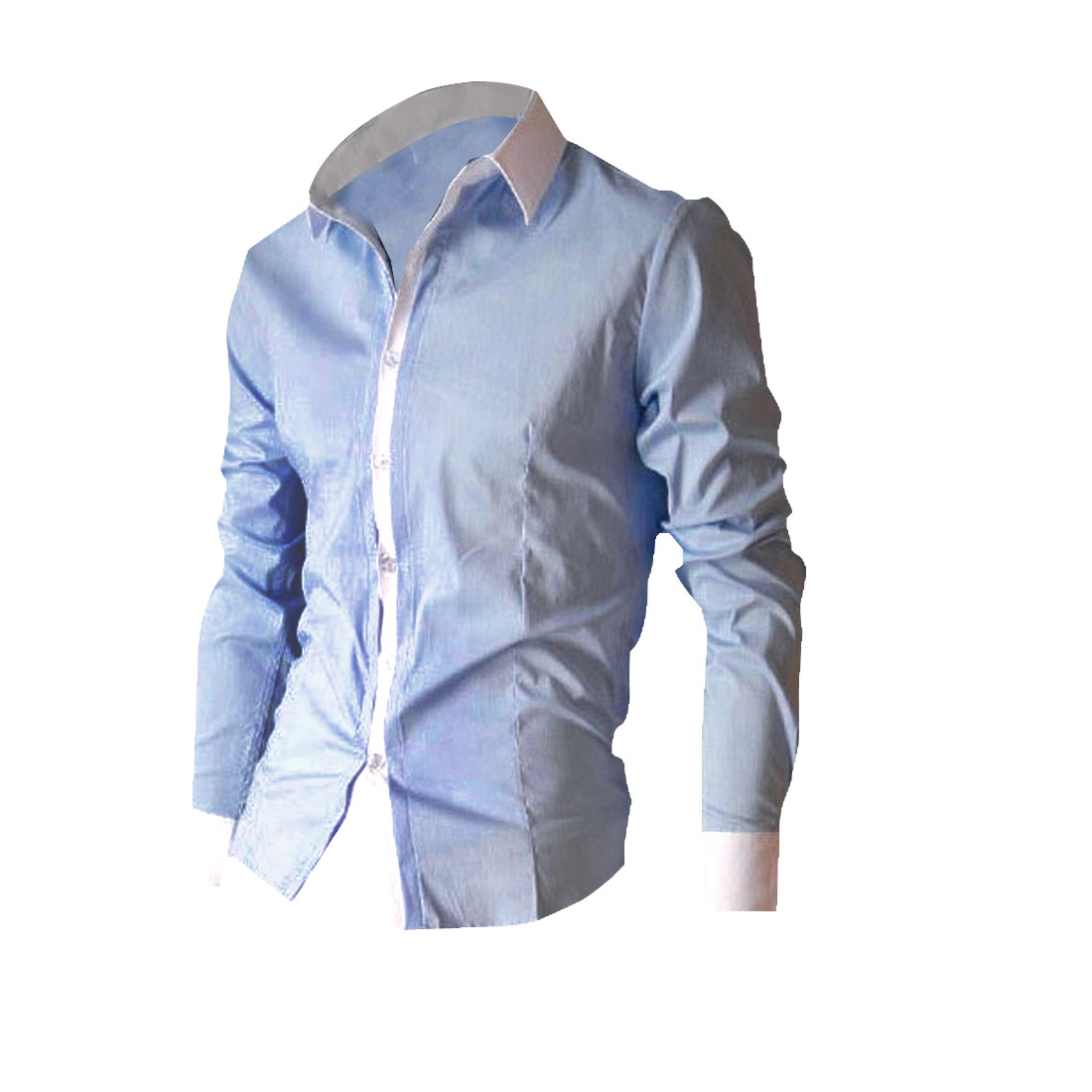 Mens NEW Trendy Light Blue Casual Single Breasted Formfitting Shirt Tops S