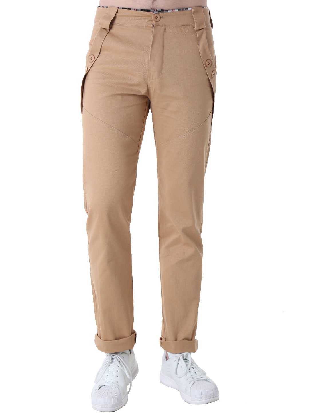 Mens Medium Khaki NEW Stylish Zip Fly Straight Slim Fit Trousers W30