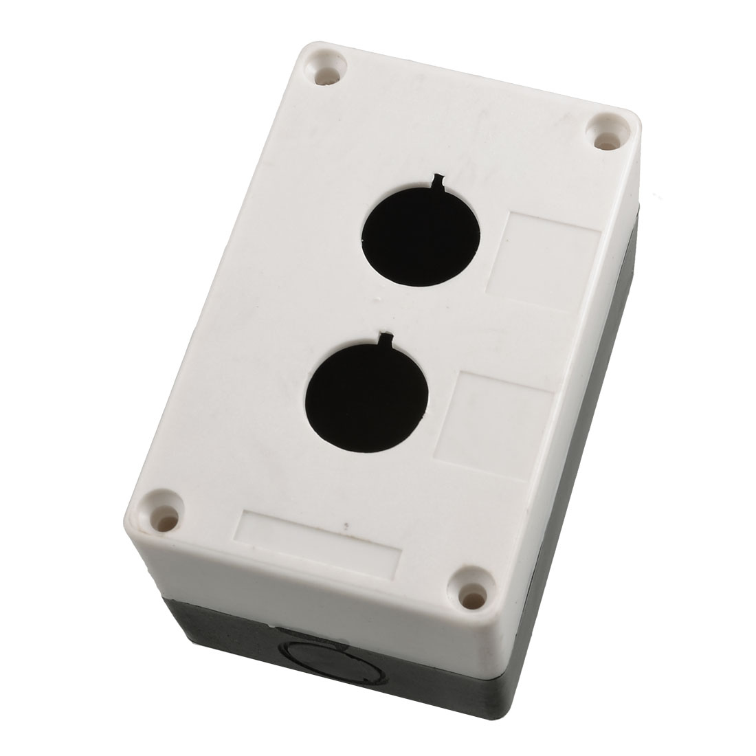 Black White Plastic 2 Push Button Switch Control Station Box Case