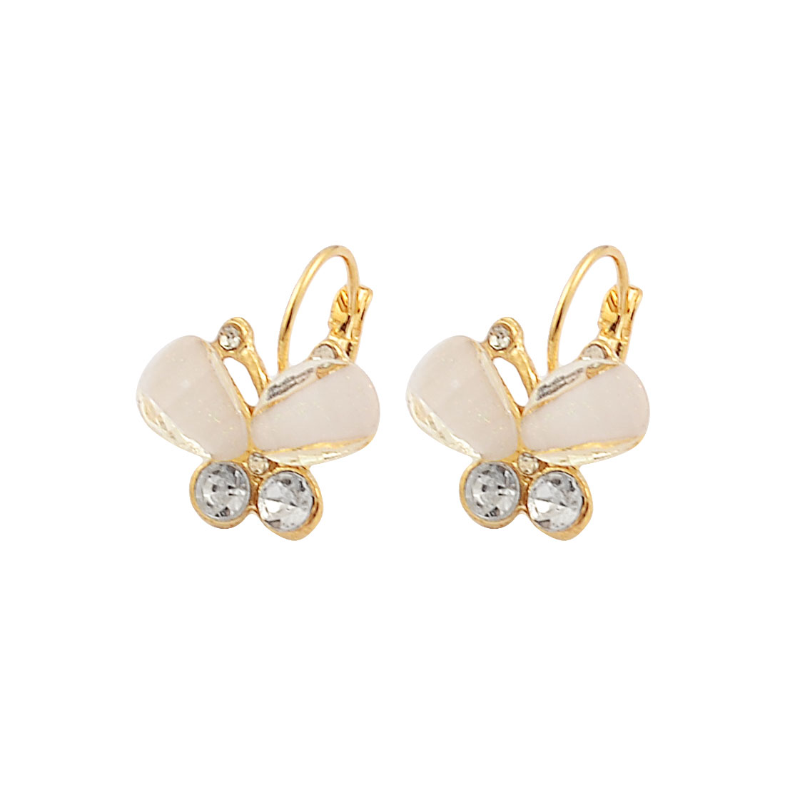 Pair Women Plastic Rhinestone Inlaid White Butterfly Eardrop Hoop Earrings