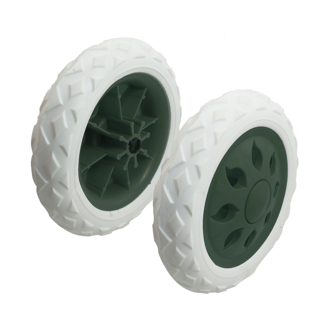 2 Pieces Dark Green White Hot Wheel Design Shopping Trolley Wheels