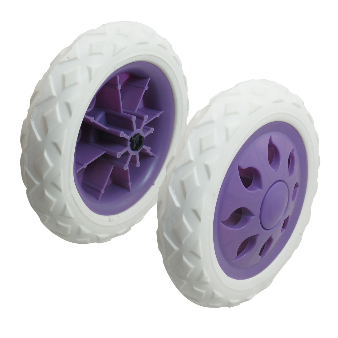 2 Pcs Purple Plastic Core Sun Shape Design Shopping Cart Casters