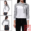 Women White Striped Sleeve Knot Neck Autumn Shirt Top M