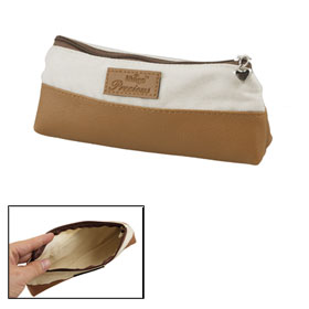 Brown White Faux Leather Fabric Pencile Stationery Bag