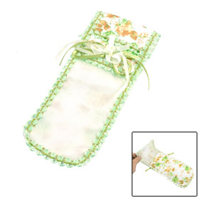 Orange Green Flower Decor TV Remote Control Cover Bag