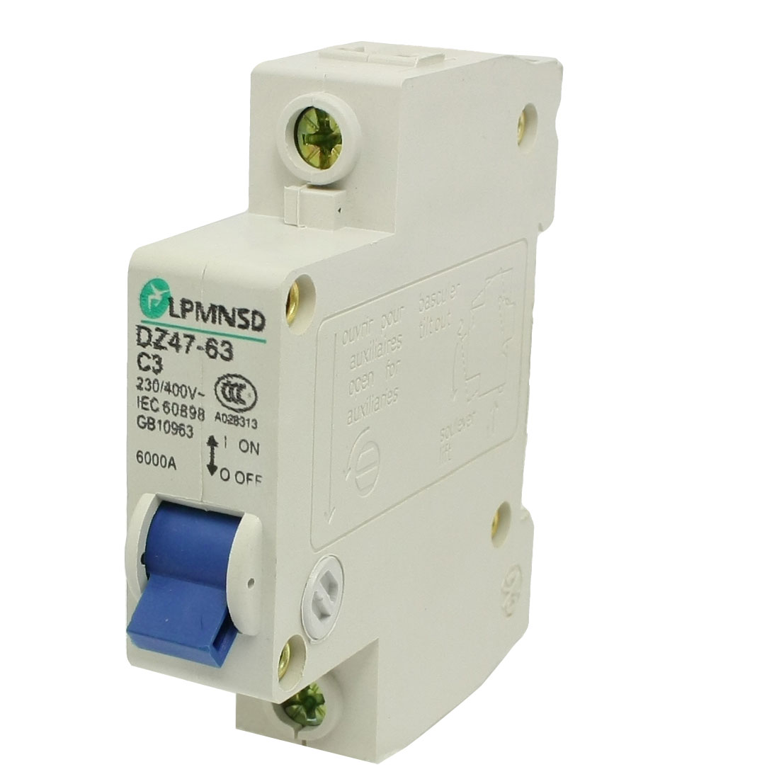 AC 240/400V Rated Current 3A Single Pole Miniature Circuit Breaker