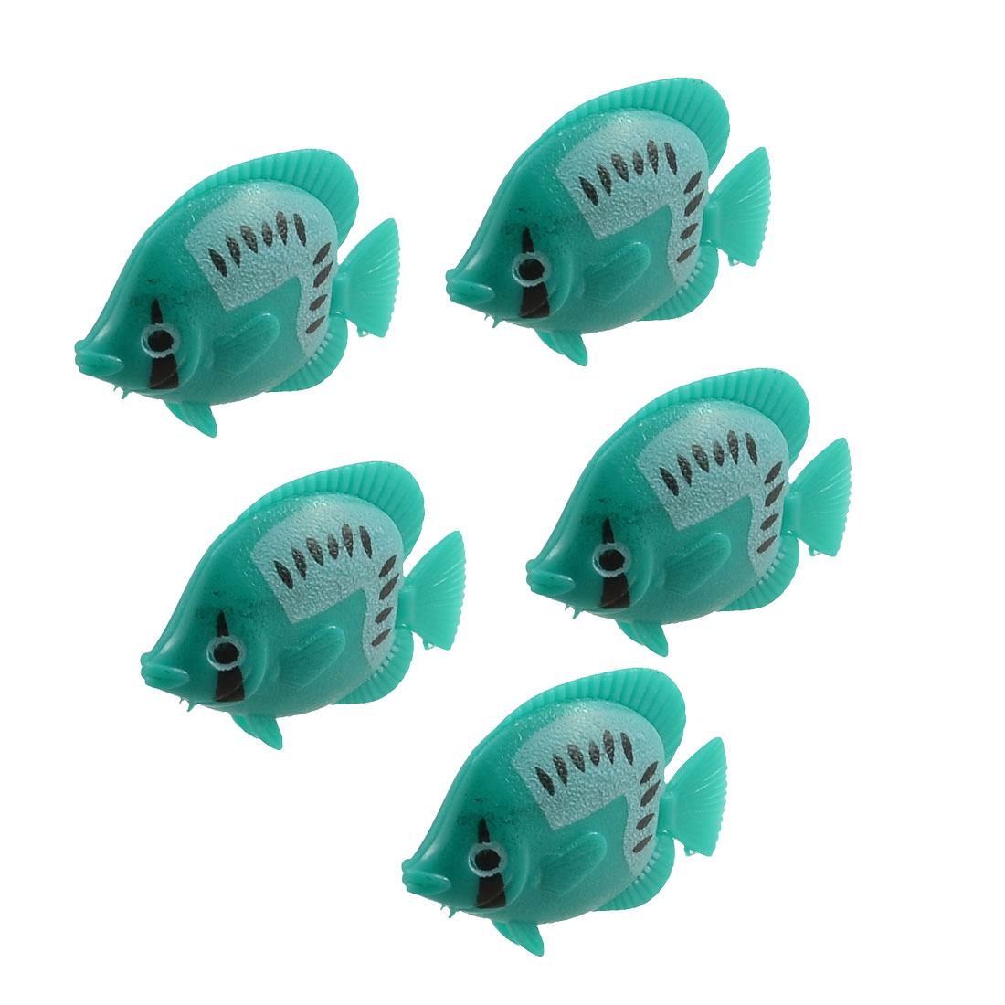 5 Pcs Green Plastic Swing Tail Tropical Fish Aquarium Ornament Decoration
