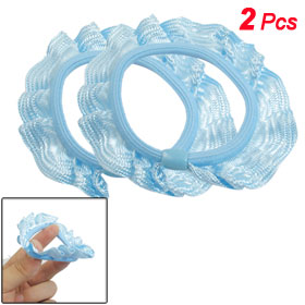 2 Pcs Sky Blue Ruffled Bead Decor Hair Rubber Band Ropes for Women