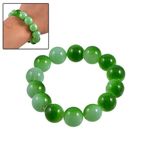 Lady Woman Glass 14-Bead Elastic Wrist Bracelet Jade Green