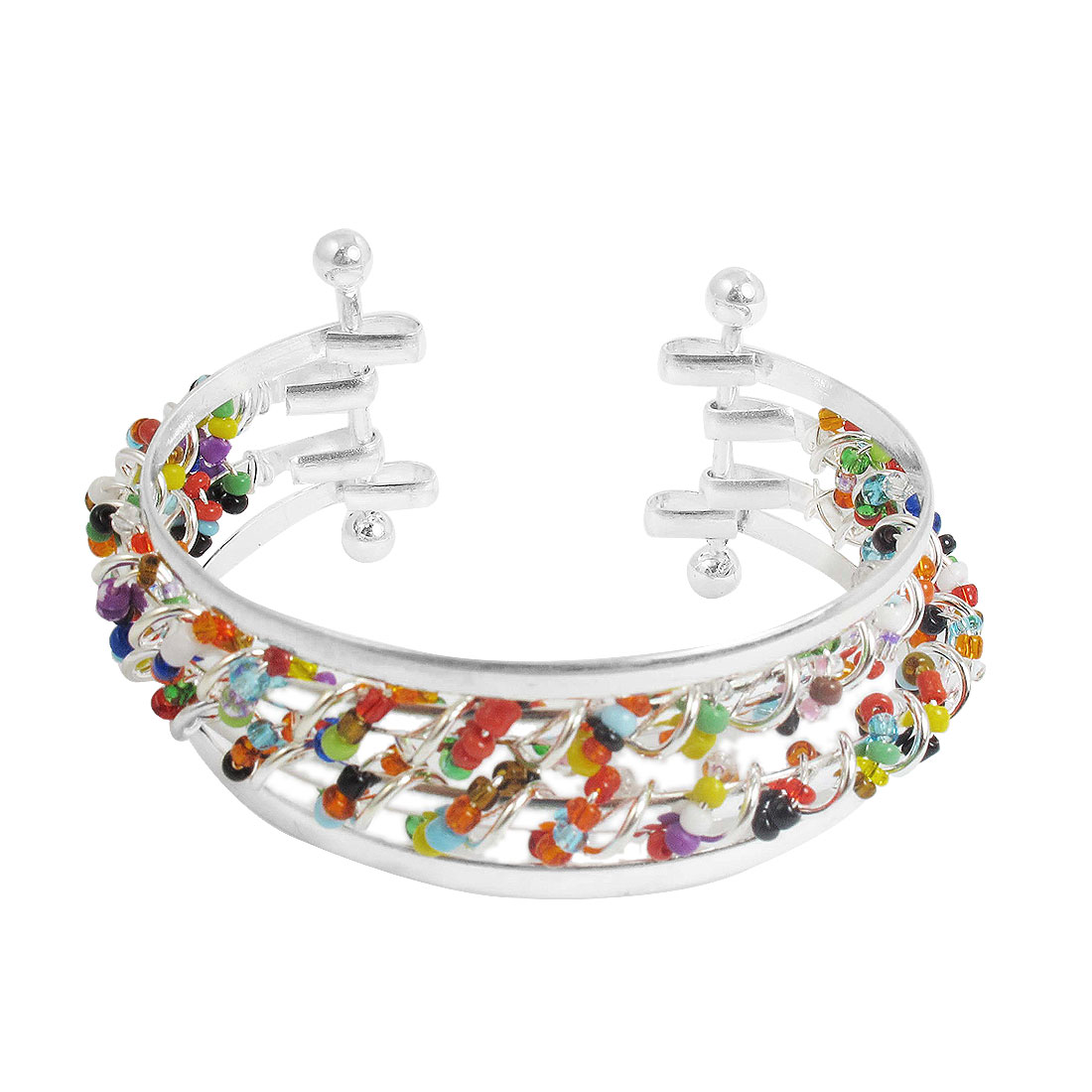 Colorful Bead Decor Half Open Style Metal Bracelet Silver Tone