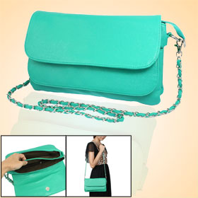 Lady Nylon Lined Detachable Strap Zippered Green Shoulder Bag Handbag