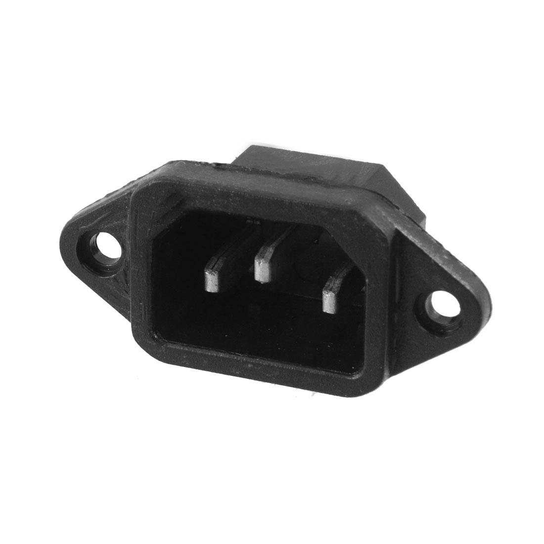 250V 10A Black Plastic C14 Power Supply Plug Adapter