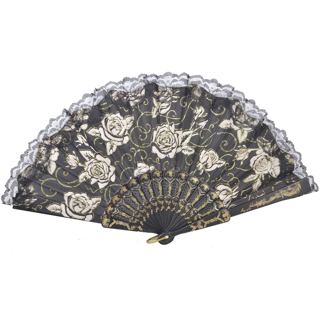 Black Lace Rim White Flower Pattern Plastic Terylene Fabric Hand Fan