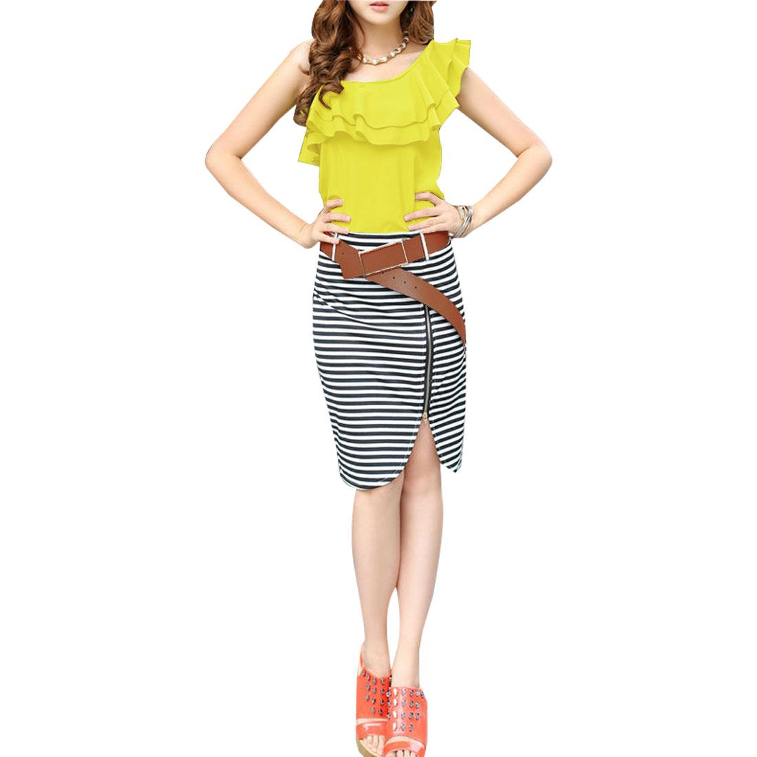 Women Flouncing Upper Zipper Front Belted Stripes Sheath Dress Yellow XS