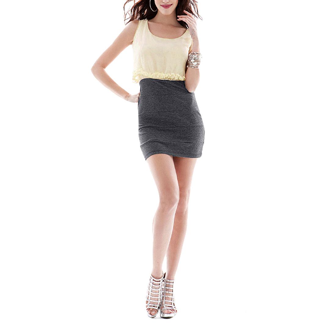 Light Beige Pullover Lining Sleeveless Layered Dresses Mini Dress for Ladies XS