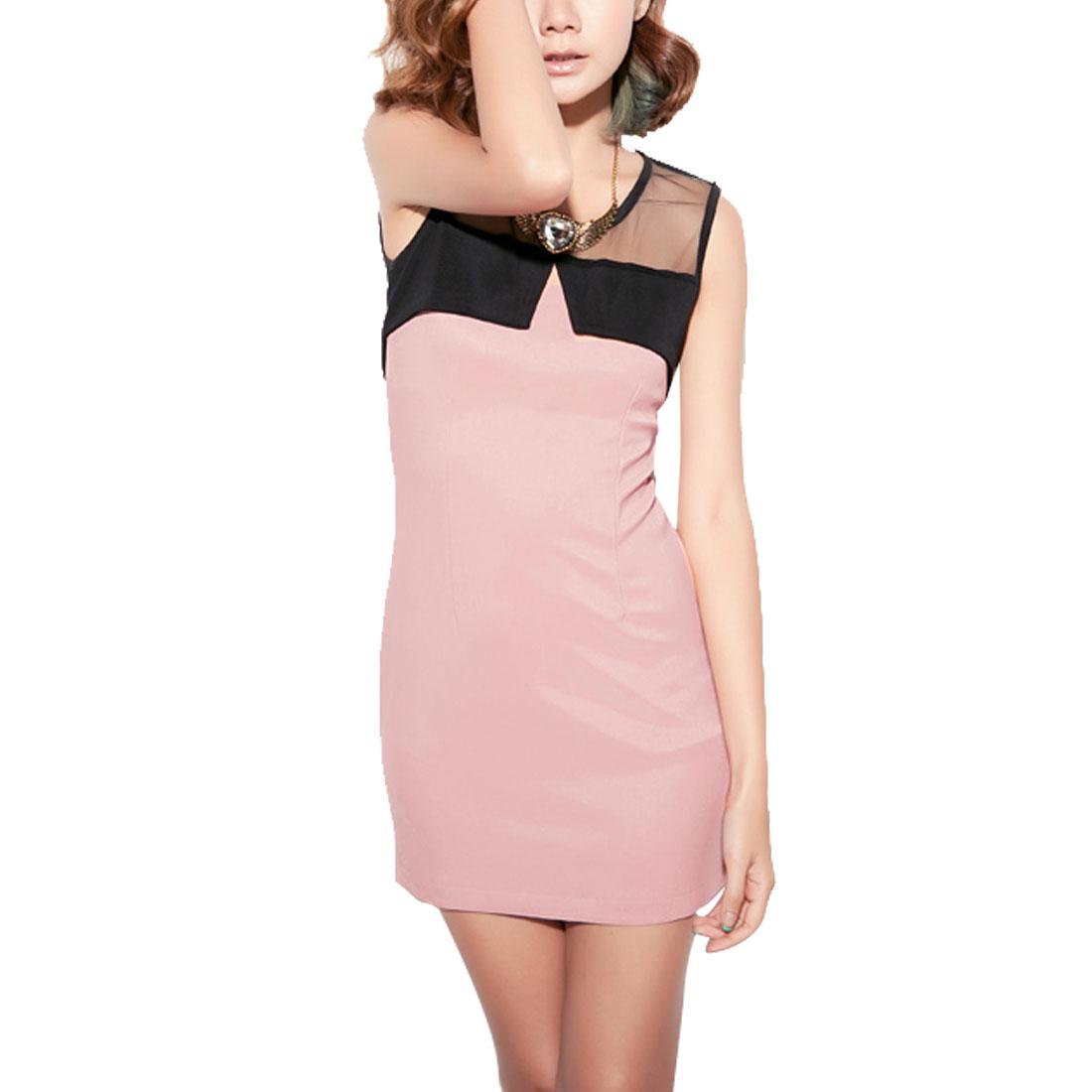 Woman Mesh Sheer Round Neck Tank Mini Dress Pink Black XS