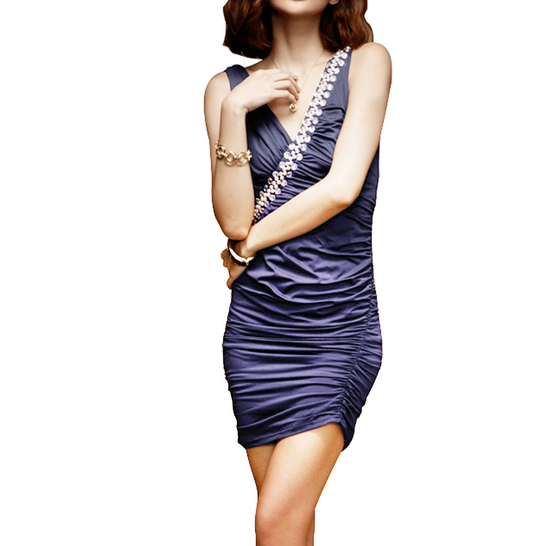 Women Formfitting Sapphire Blue Plastic Crystal Accent Ruched Side Mini Dress S