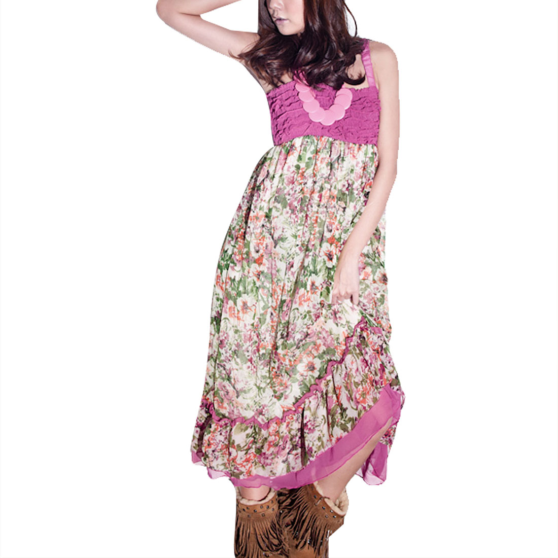 Women Flower Pattern Elastic Straps Lining Mid Calf Dress Fuchsia XS