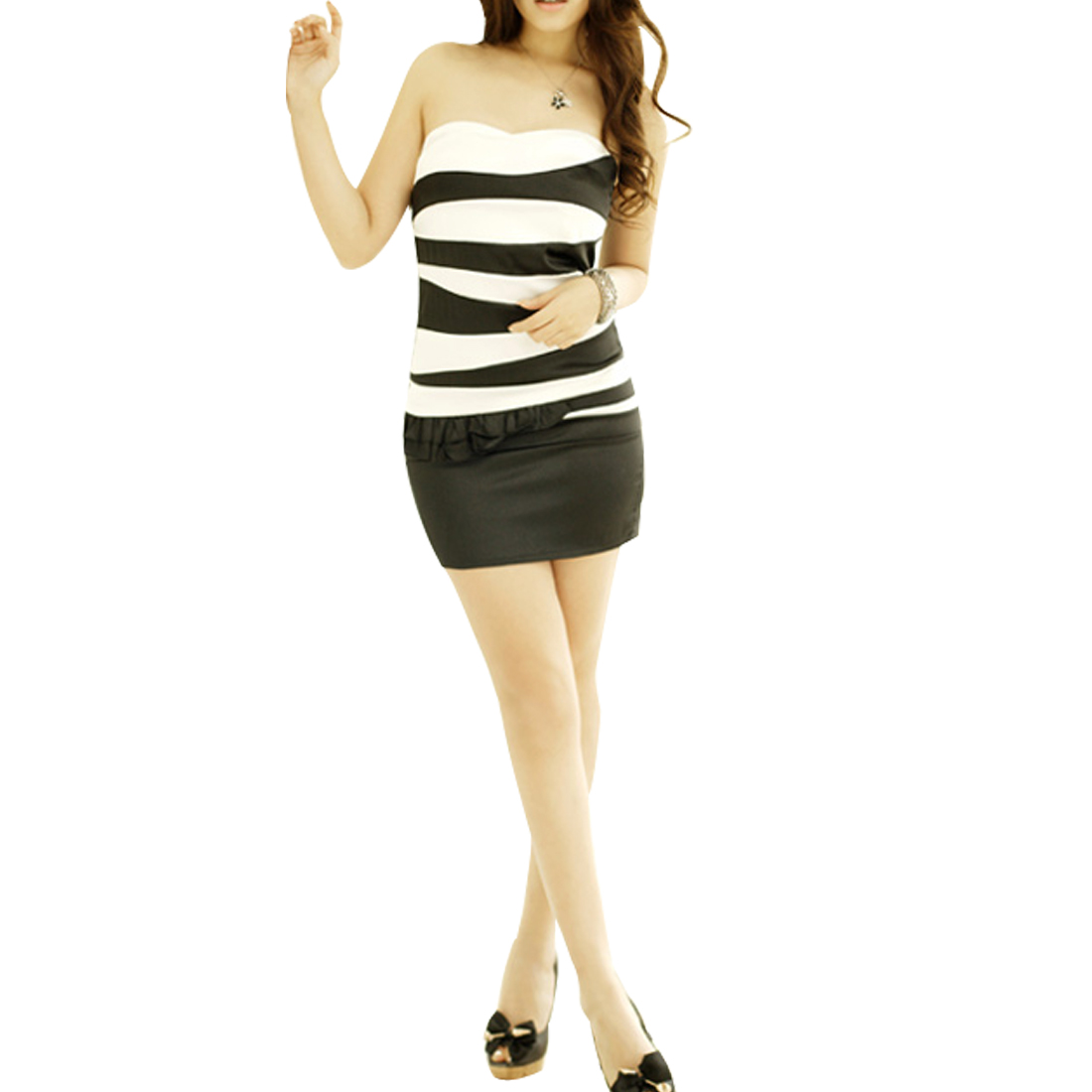 Women Stripe Pattern Seam Zipper Black White Tube Mini Dress XS