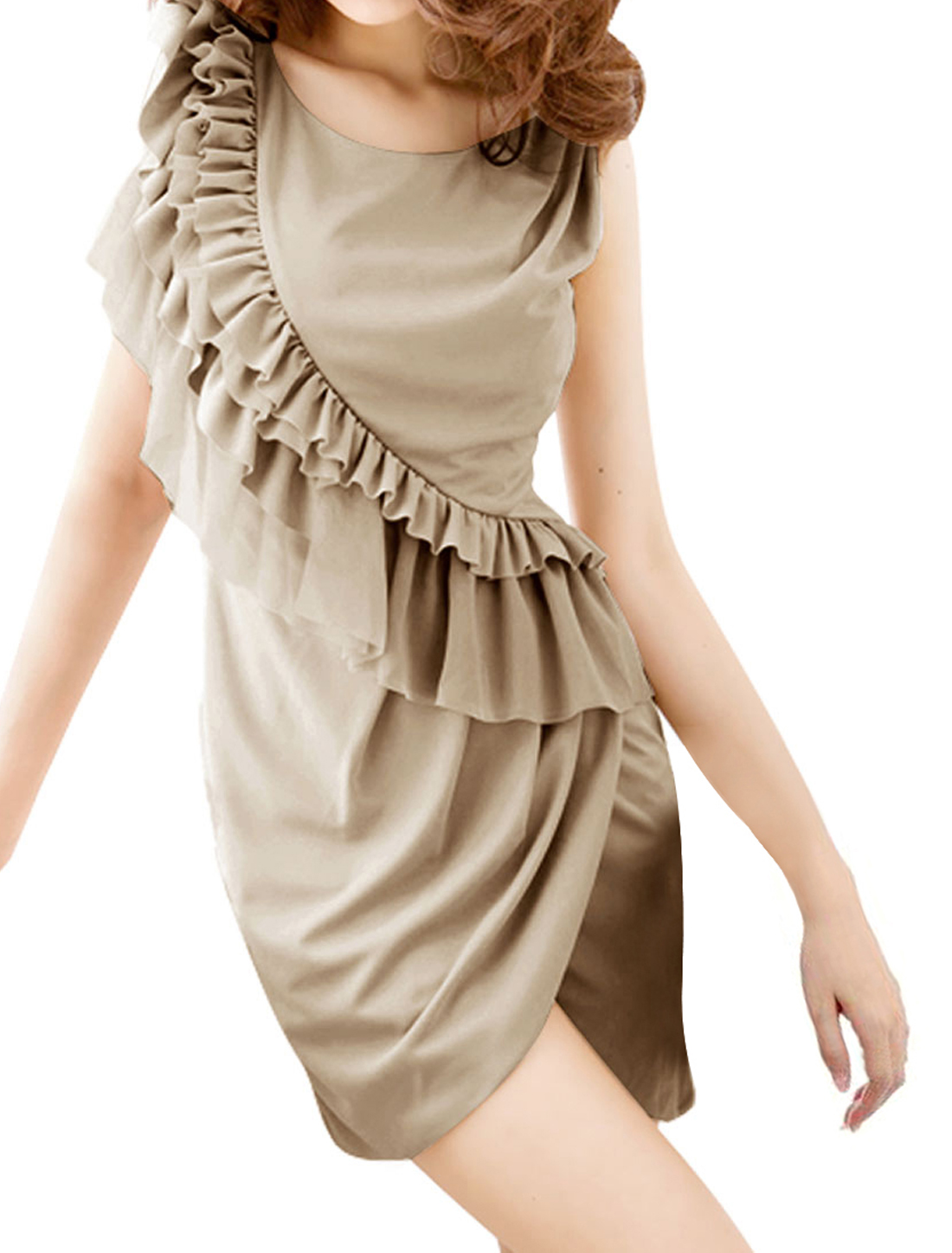 Light Gray Summer Ruffled Detail Lining Cocktail Party Mini Dress for Ladies XS