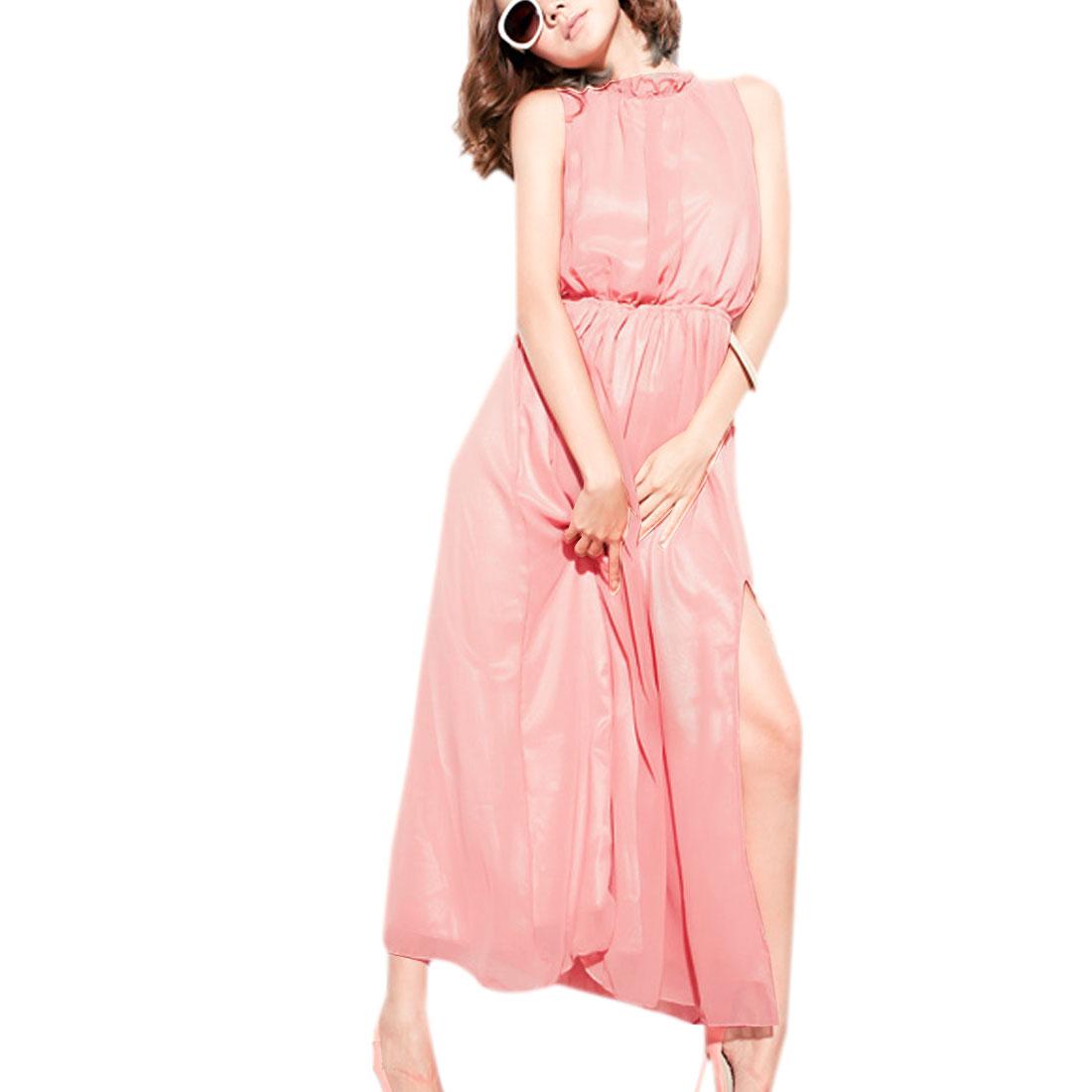 Ladies Pink Elastic Waist Sleeveless Self Tie Halter Split Sides Lining Dress S